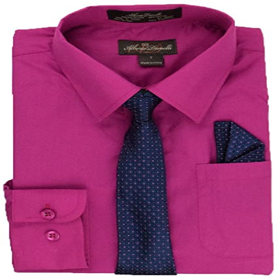 ALBERTO DANELLI MEN'S LONG TIE AND HANDKERCHIEF, FUCHSIA. K87067FL-2X