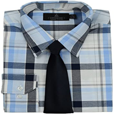 VITTORINO MEN'S PLAID DRESS SHIRT AND TIE, BLUE CHECKERED. K89099-2X