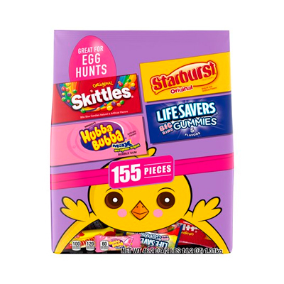 SKITTLES, STARBURST, LIFE SAVERS and HUBBA BUBBA Gum Easter Hunt Mix, 155 Fun Size Pieces, 46.2 oz. - Mixed