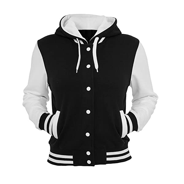 College Ladies Hooded Sweat slim Jacket Black & White  - Size XL