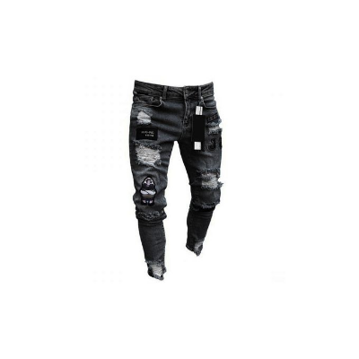 MJG Hip Hop Jeans Ripped With Denim Patches, Black